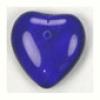 Glass Bead Heart 6X16mm Strung - Cobalt Blue